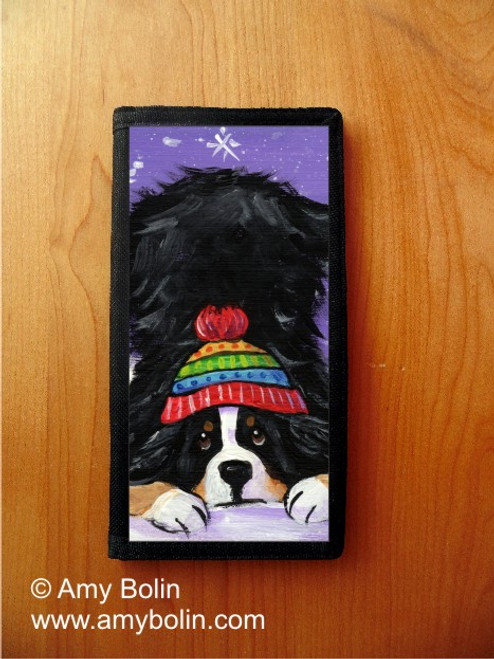 """""""Playful Pup"""" Bernese Mountain Dog Checkbook Cover"""