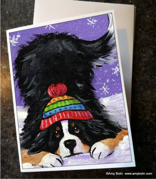 """""""Playful Pup"""" Bernese Mountain Dog Note Cards"""