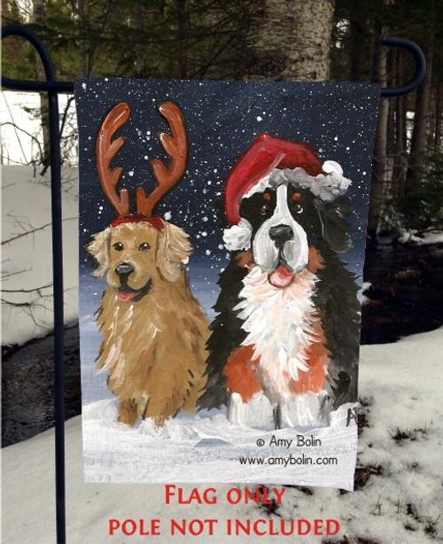 """Christmas Buddies"" Bernese Mountain Dog, Golden Retriever Garden Flag"