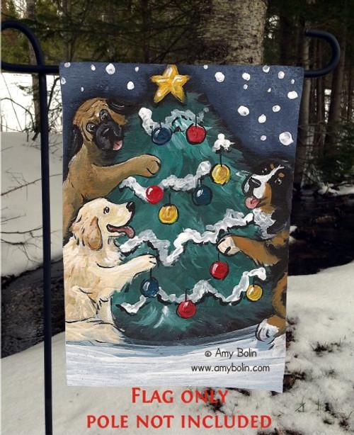 """Christmas Together"" Bernese Mountain Dog, Golden Retriever, Mastiff Garden Flag"