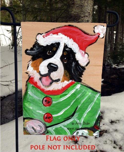 """""""Christmas Cuddlies"""" Bernese Mountain Dog Garden Flag"""