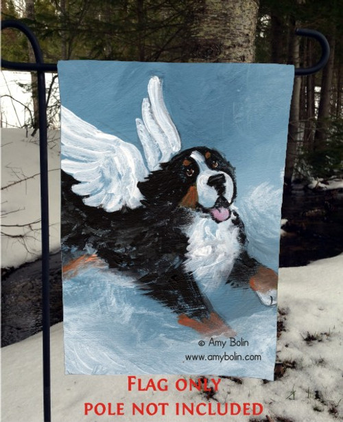 """Playful Angel"" Bernese Mountain Dog Garden Flag"
