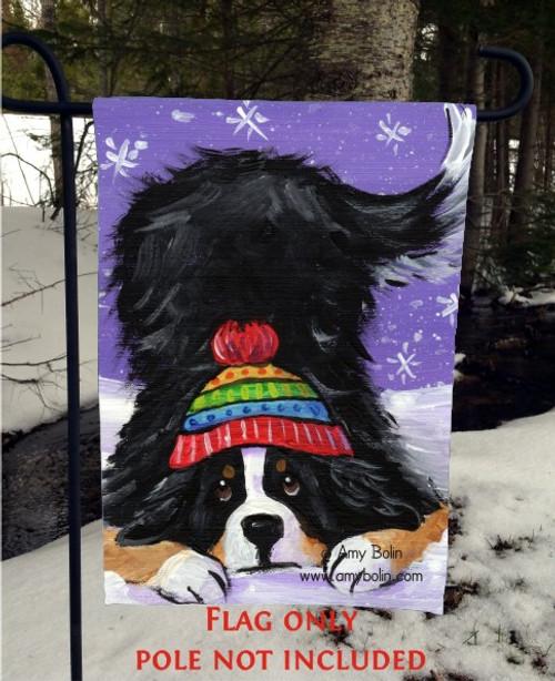 """Playful Pup"" Bernese Mountain Dog Garden Flag"