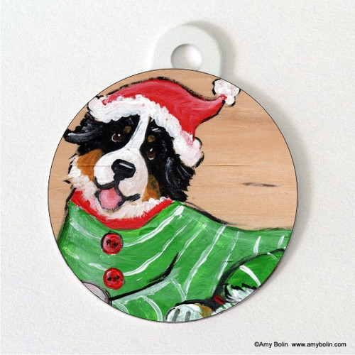 DOUBLE SIDED PET ID TAG · CHRISTMAS CUDDLIES · BERNESE MOUNTAIN DOG · AMY BOLIN