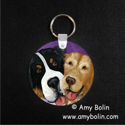 """Be Mine"" Bernese Mountain Dog & Golden Retriever Keychain"