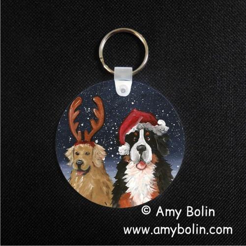 """Christmas Buddies"" Bernese Mountain Dog & Golden Retriever Keychain"