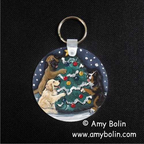 """Christmas Together"" Bernese Mountain Dog, Golden Retriever, Mastiff Keychain"