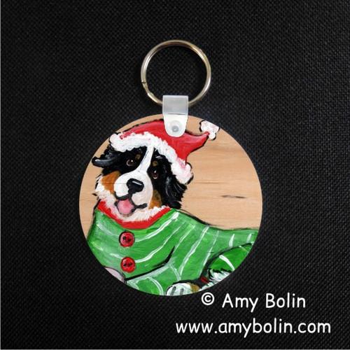 """Christmas Cuddlies"" Bernese Mountain Dog Keychain"