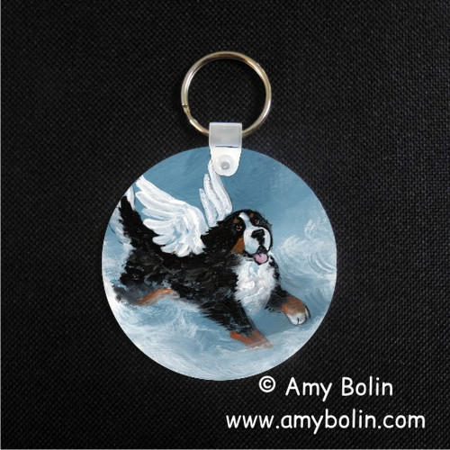 """Playful Angel"" Bernese Mountain Dog Keychain"