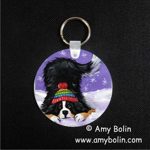 """Playful Pup"" Bernese Mountain Dog Keychain"
