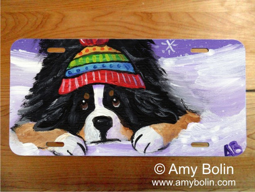 """""""Playful Pup"""" Bernese Mountain Dog License Plate"""