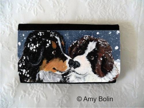 """Puppy Kisses"" Bernese Mountain Dog & Saint Bernard Large Organizer Wallet"