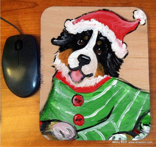 """Christmas Cuddlies"" Bernese Mountain Dog Mouse Pad"