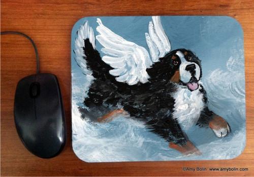 """Playful Angel"" Bernese Mountain Dog Mouse Pad"