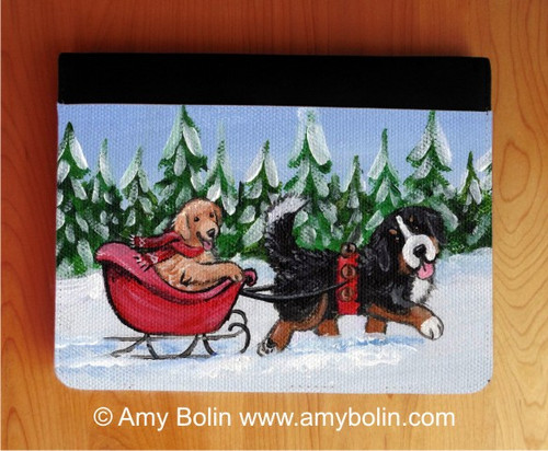 """A Wintry Ride"" Bernese Mountain Dog & Golden Retriever Notebooks (several sizes available)"
