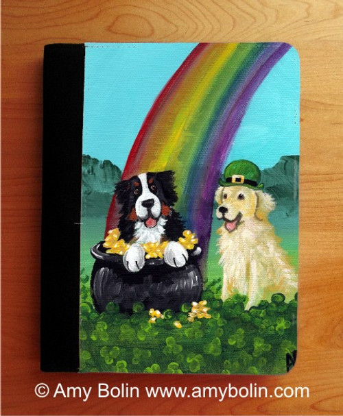"""""""My Pot O' Gold"""" Bernese Mountain Dog & Golden Retriever Notebooks (several sizes available)"""
