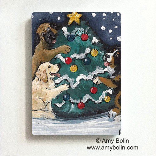 """Christmas Together"" Bernese Mountain Dog, Golden Retriever, Mastiff Magnet"