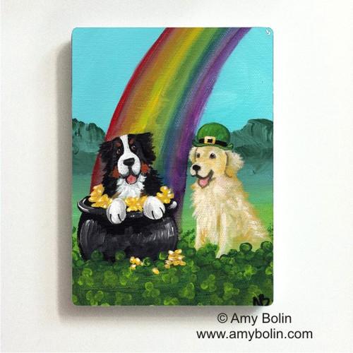 """My Pot O' Gold"" Bernese Mountain Dog, Golden Retriever Magnet"