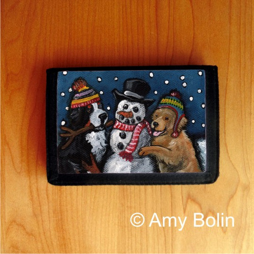 TRIFOLD WALLET · FRIENDS OF SNOW NEED LOVE TO GROW · BERNESE MOUNTAIN DOG, GOLDEN RETRIEVER · AMY BOLIN