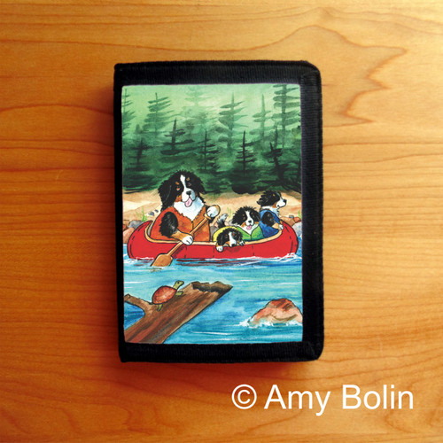 """""""Berners On The River"""" Bernese Mountain Dog Tri Fold Wallet"""