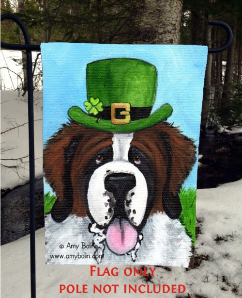 """A Big, Wet Irish Kiss"" Saint Bernard Garden Flag"