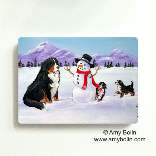"""""""Our Snowy Friend"""" Bernese Mountain Dog Magnet"""