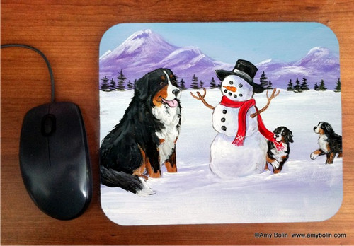 """""""Our Snowy Friend"""" Bernese Mountain Dog Mouse Pad"""