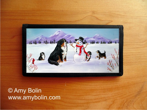 """""""Our Snowy Friend"""" Bernese Mountain Dog Checkbook Cover"""