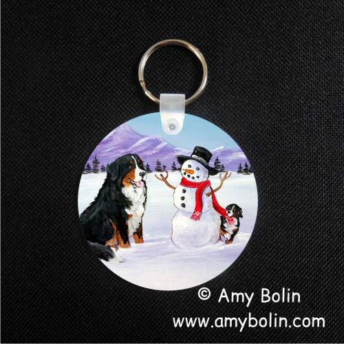 """Our Snowy Friend"" Bernese Mountain Dog Keychain"