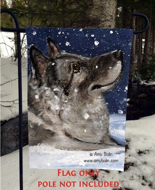 """Senja's Snow Day"" Norwegian Elkhound Garden Flag"
