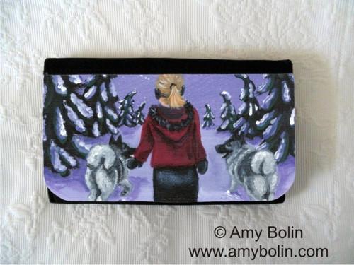 """""""A Snowy Walk"""" Norwegian Elkhound Large Organizer Wallet"""