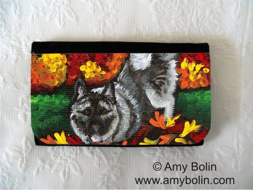"""Autumn's Simple Pleasures"" Norwegian Elkhound Large Organizer Wallet"