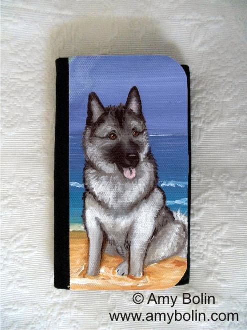 """""""Beach Bum"""" Norwegian Elkhound Large Organizer Wallet"""