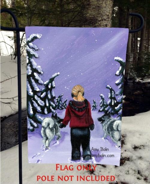 """A Snowy Walk"" Norwegian Elkhound Garden Flag"
