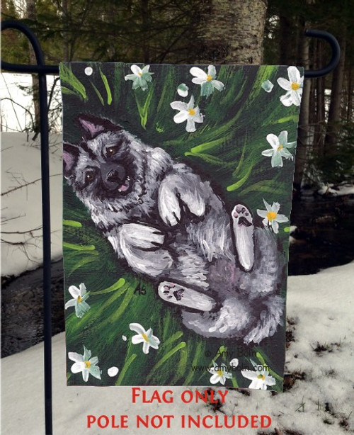 GARDEN FLAG · HAPPINESS IS A FIELD OF DAISIES · NORWEGIAN ELKHOUND · AMY BOLIN
