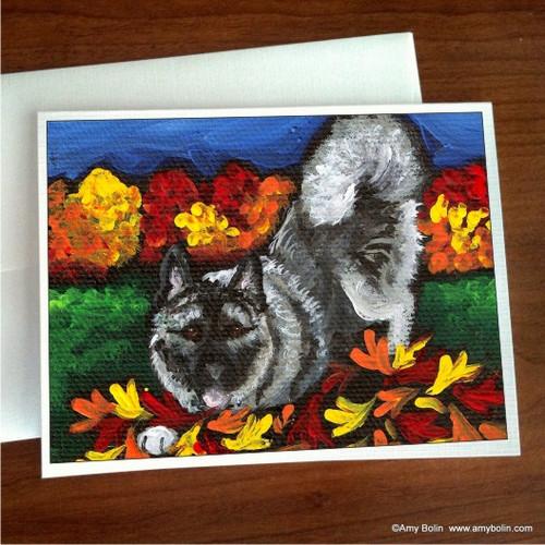 """Autumn's Simple Pleasures"" Norwegian Elkhound Note Cards"