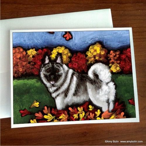 """Chasing Leaves"" Norwegian Elkhound Note Cards"