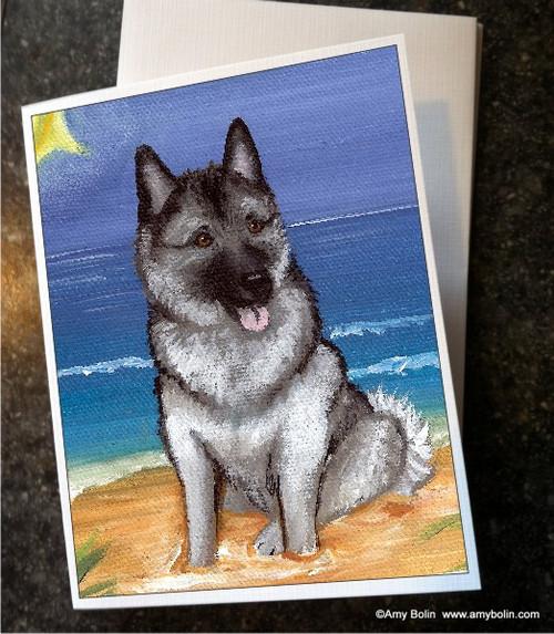 """Beach Bum"" Norwegian Elkhound Note Cards"
