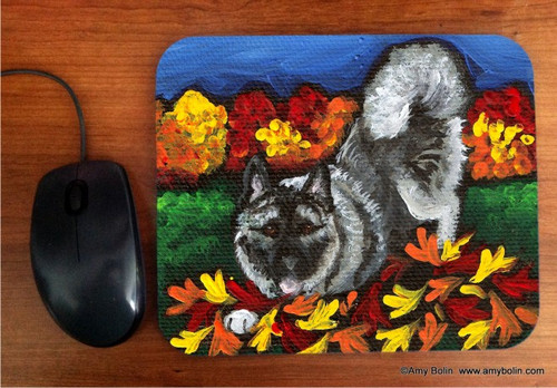 MOUSE PAD · AUTUMN'S SIMPLE PLEASURES · NORWEGIAN ELKHOUND · AMY BOLIN