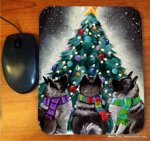 """""""Chrsitmas Together"""" Norwegian Elkhound Mouse Pad"""