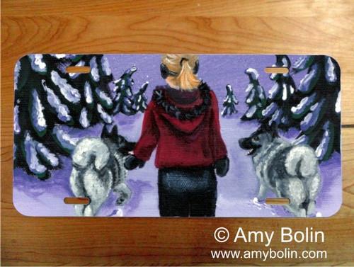 """A Snowy Walk"" Norwegian Elkhound License Plate"