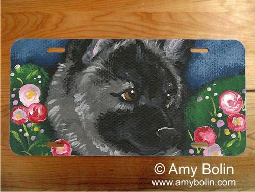 """""""Mom's Favorite Flower"""" Norwegian Elkhound License Plate"""