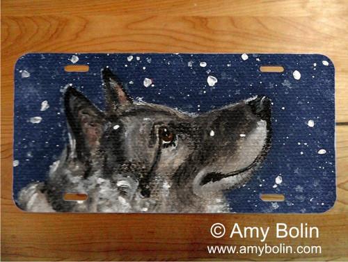 """Senja's Snow Day"" Norwegian Elkhound License Plate"