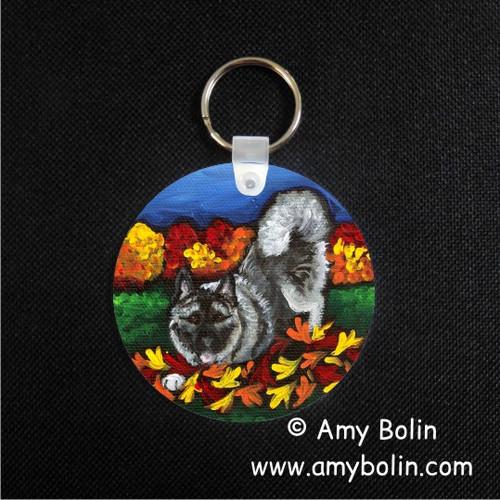 """Autum's Simple Pleasures"" Norwegian Elkhound Keychain"