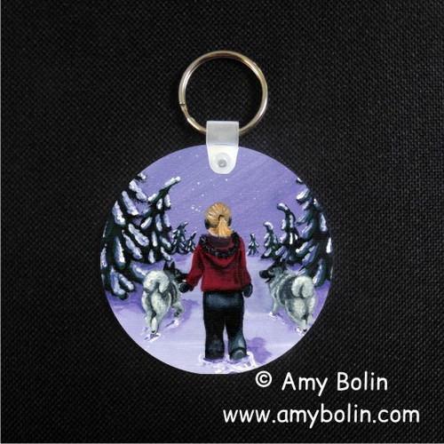 """A Snowy Walk"" Norwegian Elkhound Keychain"