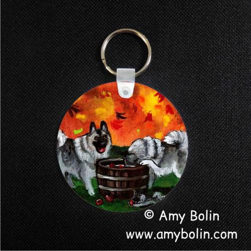 """""""Bobbing For Apples"""" Norwegian Elkhound Keychain"""