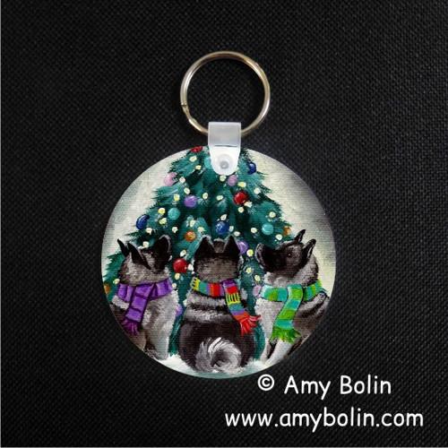 """Christmas Together"" Norwegian Elkhound Keychain"