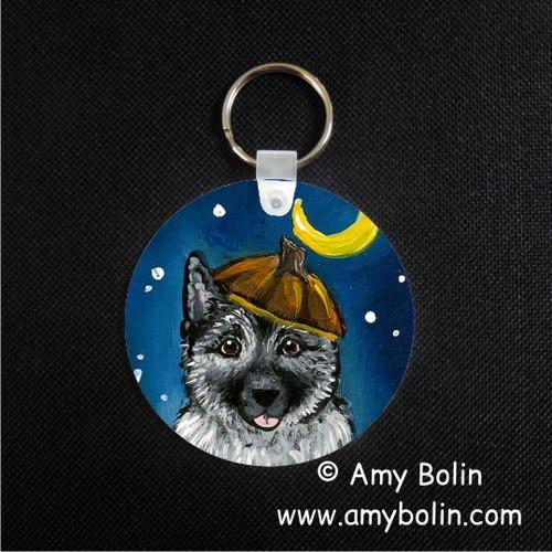 """Happy Howloween"" Norwegian Elkhound Keychain"