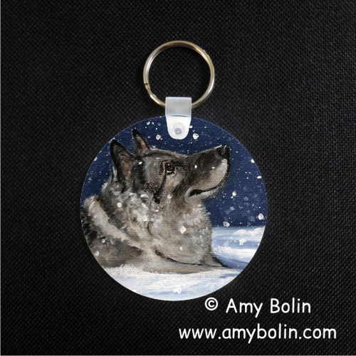 """Senja's Snow Day"" Norwegian Elkhound Keychain"