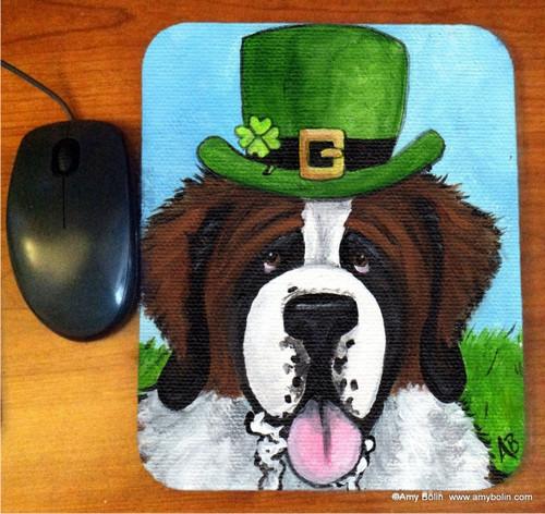 """A Big, Wet Irish Kiss"" Saint Bernard Mouse Pad"